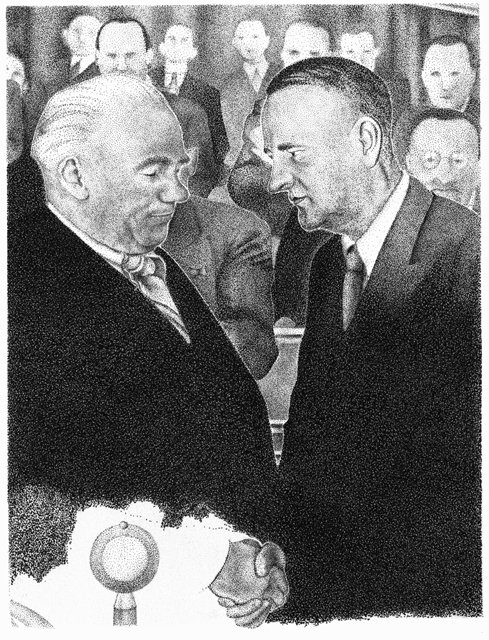 Wilhelm Pieck and Kurt Schumacher at the founding political convention of the SED party in Berlin, 1946