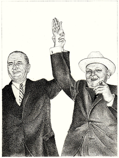 Lyndon B. Johnson and Ludwig Erhard after the presentation from a Stetson in Texas 1963