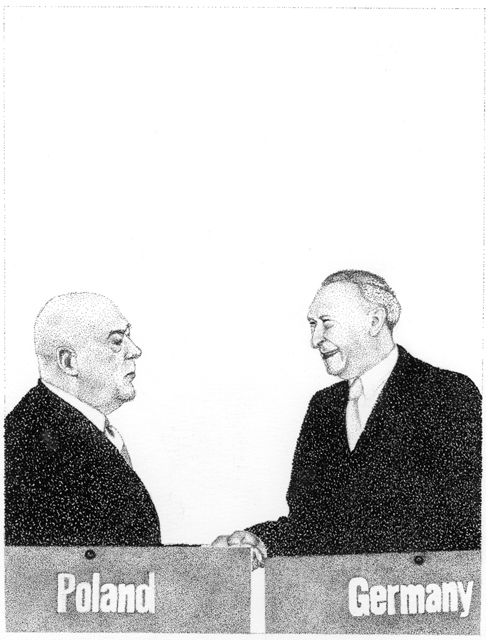 Konrad Adenauer and Jozef Cyrankiewicz  before signing the NATO accession agreement of the FRG at the Palais de Chaillot, 1954