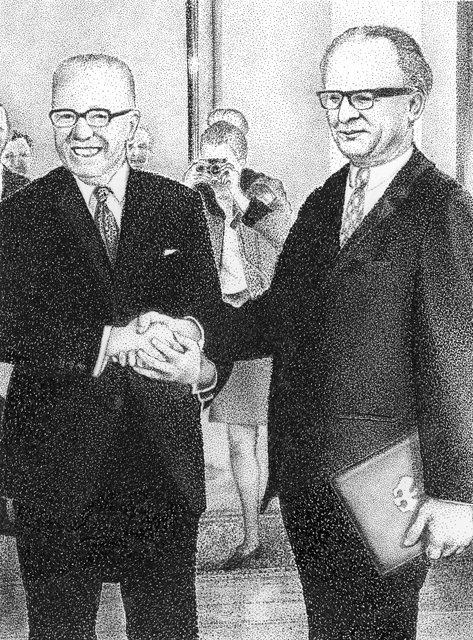 Gustav Heinemann and  Erich Honecker awarding the letter of appointment to the new German Chancellor in Bonn, 1969