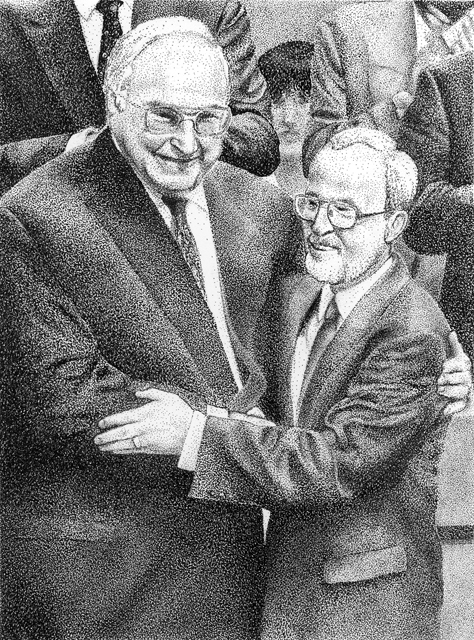 Helmut Kohl and Lothar de Maizière political convention on the unification of the East and West German CDU party in Hamburg, 1990