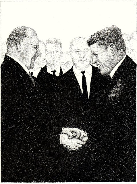 Walter Ulbricht und John F.Kennedy signing the treaty of friendship in Moscow, 1964