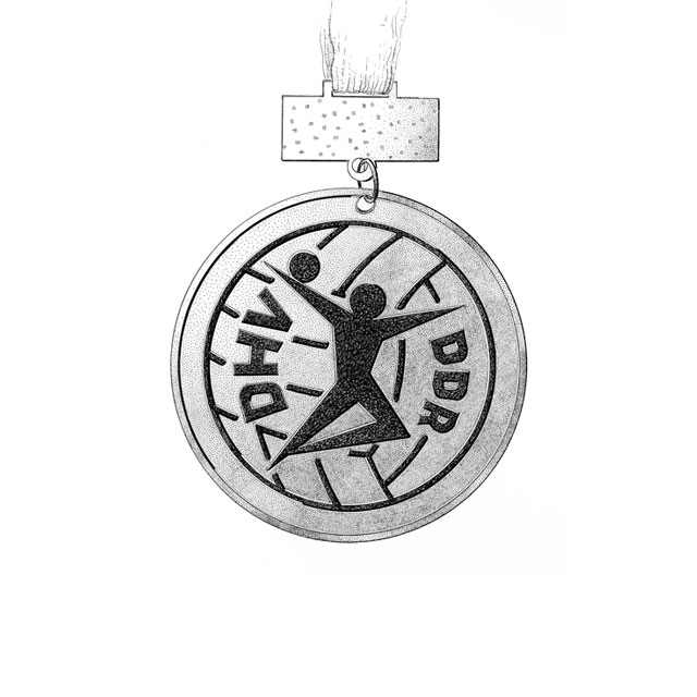 county's championship medal, back side, M 1,5:1, ink drawing 2006, awarded in 1986 for 3rd place at females' handball at the county-level Spartakiade (sports event), age group 11/12