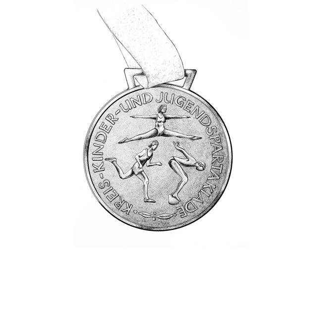 district's championship medal, back side,  M 2:1, ink drawing 2006, awarded in 1989 for 1st place at females' handball at the district-level Spartakiade (sports event), age group 14/15