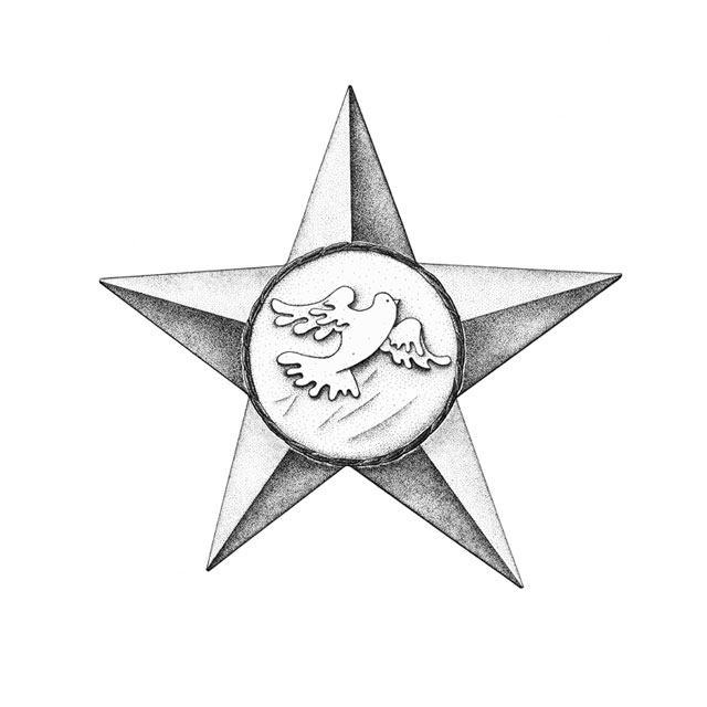 "little star of friendship among the peoples, M 4:1, ink drawing 2006, awarded in 1982 for ""solidarity with Poland's children"""